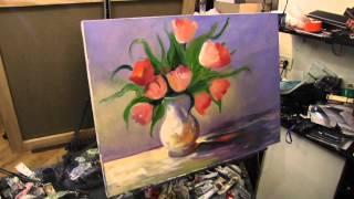 getlinkyoutube.com-Научиться рисовать цветы в вазе, Сахаров, тюльпаны маслом на холсте
