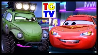 getlinkyoutube.com-Shifty Sidewinder Unlocked vs Lightning McQueen, Komodo | Cars Fast as Lightning
