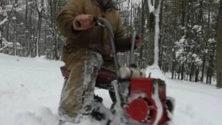 getlinkyoutube.com-Snow Romp with the Track Bike and 2 engine Minibike