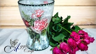 getlinkyoutube.com-Decoupage Tutorial - Glass flower vase
