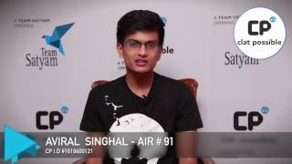 Tips, Tricks & Success Mantra for clat Exam by Aviral Singhal CLAT AIR 91