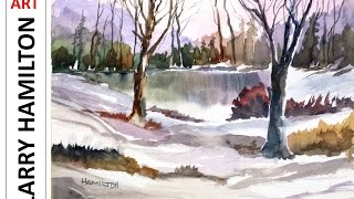 """getlinkyoutube.com-Paint Along with Larry Hamilton- Watercolor - """"Woods by the Lake"""""""