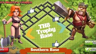 getlinkyoutube.com-Clash Of Clans - TH8 Trophy Base for Crystal/Master League with Air Sweeper + Replays ||Guio28
