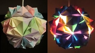 getlinkyoutube.com-DIY lamp (flower ball) - learn how to make a paper lampshade/lantern by modular origami- EzyCraft