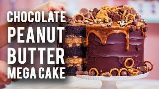 getlinkyoutube.com-How To Make A CHOCOLATE PEANUT BUTTER MEGA CAKE! Rich Chocolate, Sweet Caramel & Peanut Butter!