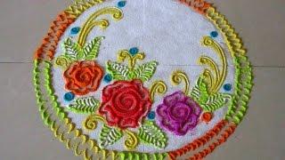 getlinkyoutube.com-How to draw roses in rangoli | Easy and small rangoli | Innovative rangoli designs by Poonam Borkar