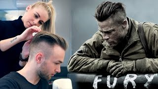 getlinkyoutube.com-Brad Pitt Hair from FURY ★ Professional Guide ★ Men's Undercut