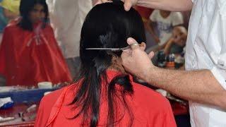 getlinkyoutube.com-Girl long to short hair cut