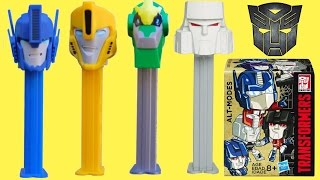 getlinkyoutube.com-NEW! TRANSFORMERS Robots in Disguise PEZ Candy Dispensers, Toys Optimus Prime Bumblebee Sideswipe
