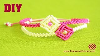 getlinkyoutube.com-DIY Easy Macramé Square Bracelet Tutorial
