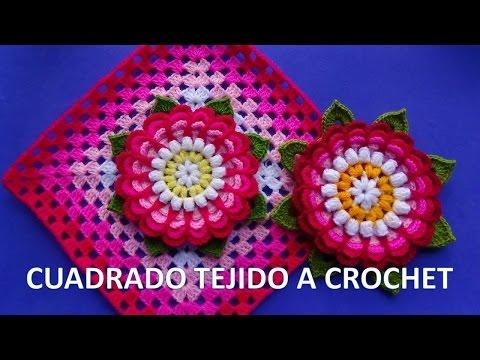 Cuadrado tejido a ganchillo con flor dalia paso a paso para colchas y cojines