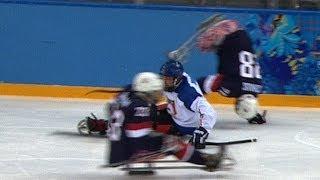 getlinkyoutube.com-BRUTAL ice sledge hockey hits   Sochi 2014 Winter Paralympics