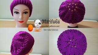 getlinkyoutube.com-How to crochet hearts beret hat free pattern tutorial