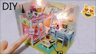 getlinkyoutube.com-DIY Miniature Dollhouse with Full Furniture Sets&Lights | DIY Room Decor