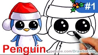 getlinkyoutube.com-How to Draw Beanie Boo Penguin easy Step by Step Christmas Special