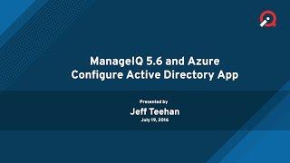 ManageIQ 5.6 - Configure Azure Active Directory App