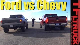 2017 Ford Raptor vs Chevy Silverado 1500 (6.2L) Mashup Drag Race