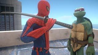 getlinkyoutube.com-Raphael vs Spiderman (Teenage Mutant Ninja Turtles) - EPIC BATTLE