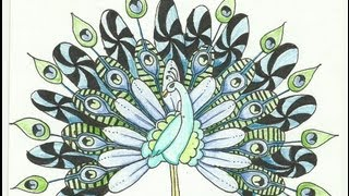 getlinkyoutube.com-Peacock Zentangle