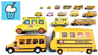 getlinkyoutube.com-School Bus for children kids with tomica トミカ VooV ブーブ 変身 lego playmobil robocar hello kitty snoopy