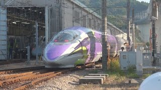 エヴァ新幹線、発進! JR西、11月7日から Evangelion shinkansen train shown to media