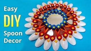 getlinkyoutube.com-Diwali Decoration Ideas : How to Make Wall Decor From Plastic Spoons | DIY home Decorations