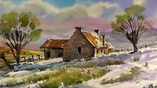 getlinkyoutube.com-Watercolor Landscape Painting : Winter farm