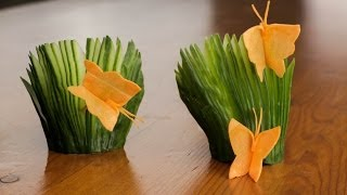 getlinkyoutube.com-How To Make A Carrot Butterfly And Cucumber Fans Garnish