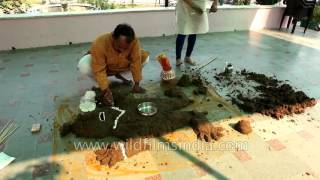 Hindus build cow dung hillock to symbolize Mount Govardhan