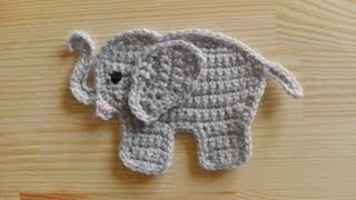 getlinkyoutube.com-How to crochet an elephant application applique