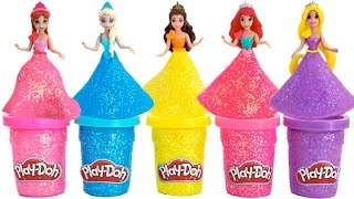 getlinkyoutube.com-Play Doh Sparkle Disney Princess Dresses Ariel Elsa Belle Magiclip * Blind Bags * RainbowLearning