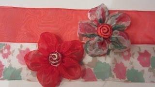 getlinkyoutube.com-Cómo hacer flores de cinta de organza. How to make organza Flowers.