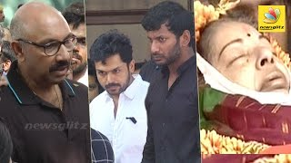Nadigar Sangam's emotional homage at Jayalalitha's Funeral   Vishal, Karthi, Sathyaraj Speech