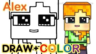 getlinkyoutube.com-How to Draw Minecraft Alex Cute step by step