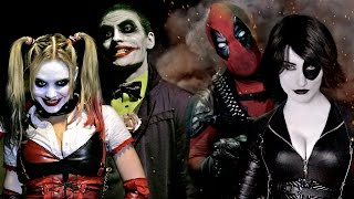 getlinkyoutube.com-JOKER & HARLEY QUINN vs DEADPOOL & DOMINO - Super Power Beat Down (Episode 16)
