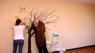 getlinkyoutube.com-Dalí Adhesivos de pared - árbol alto con hojas que vuelan en la instalación del viento