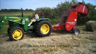 getlinkyoutube.com-A Girl Farming with John Deere 5055e & Massey Rd Baler