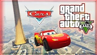 getlinkyoutube.com-Lightning McQueen vs VERTICAL RAMP! (GTA 5 Mods Funny Moments) - Disney Cars in GTA 5