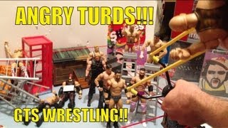 getlinkyoutube.com-GTS WRESTLING: Angry Turds Slingshot action figures match! WWE mattel elites figure animation