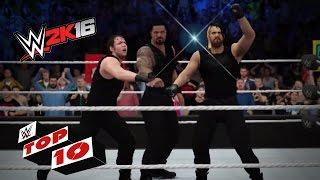 getlinkyoutube.com-Dangerous Dives Thru the Ropes: WWE 2K16 Top 10