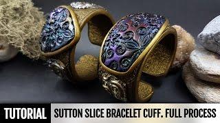 getlinkyoutube.com-DIY How to make Unique Sutton Slice Bracelet Cuff. Polymer clay Jewelry making. VIDEO Tutorial!