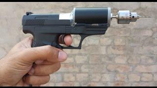 getlinkyoutube.com-How to make a DRILL Machine Using Toy GUN and Motor