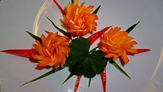 getlinkyoutube.com-Цветы из моркови и кабачка! Flowers of carrot and zucchini! Decoration of vegetables