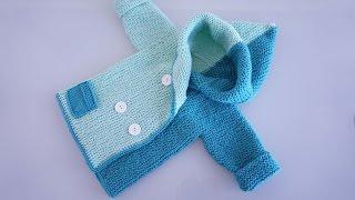 getlinkyoutube.com-Детский жакет спицами для возраста от новорожденного до 2-х лет. Часть1-я из 2-х
