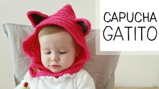 getlinkyoutube.com-Cuello con Capucha a Crochet (orejas de GATO) toodas las tallas (ENGLISH SUBTITLES!)