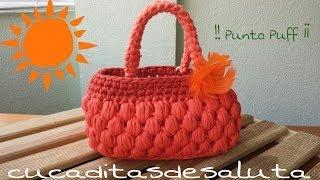 getlinkyoutube.com-Bolso de Trapillo !! Punto Puff ¡¡ Handbag / of / Trapillo step by step