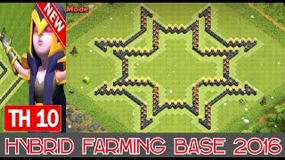 "getlinkyoutube.com-Town Hall 10 *New* (Hybrid/Trophy Farming Base 2016/Protect Storages & Town Hall) ""STARS"""