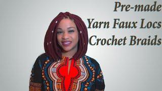 getlinkyoutube.com-Pre-made Yarn Faux Locs Crochet Braids | Gorgeous DIY Protective Style | Red Yarn Locs Bob