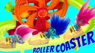 getlinkyoutube.com-Trolls Movie Poppy Branch Ride & Get Trapped on a Roller Coaster at Amusement Park!