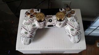 getlinkyoutube.com-Unboxing Gimika PS4 Custom Modded Controller Money Talks With ShotGun Thumbsticks & Real 9mm Bullet
